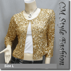 Sequin Embroidered Bolero Shrug Top Golden