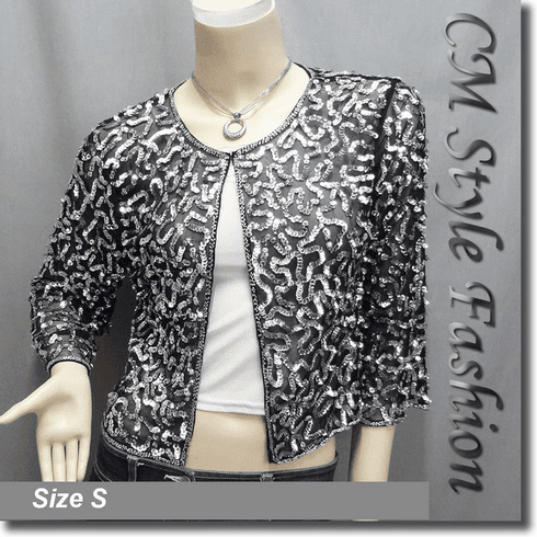 Sequin Embroidered Bolero Top Black Silvery
