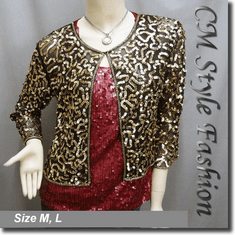Sequin Embroidered Bolero Top Golden Black