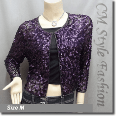 Sequin Embroidered Bolero Top Purple