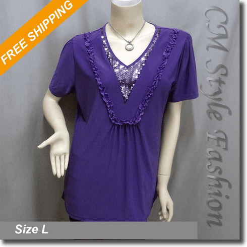 Sequin Lace Tunic Blouse Top Purple