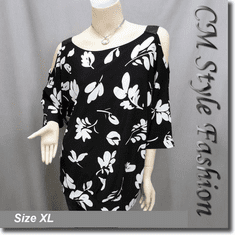 Sequin Strap Flowery Cut Off Shoulder Tunic Black White