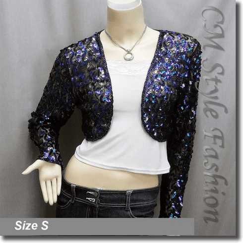 Sequined Embroidered Cropped Shrug Bolero Black