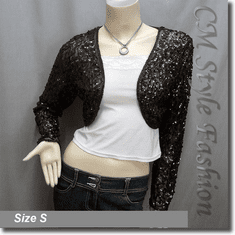 Sequined Embroidered Cropped Shrug Bolero Brown