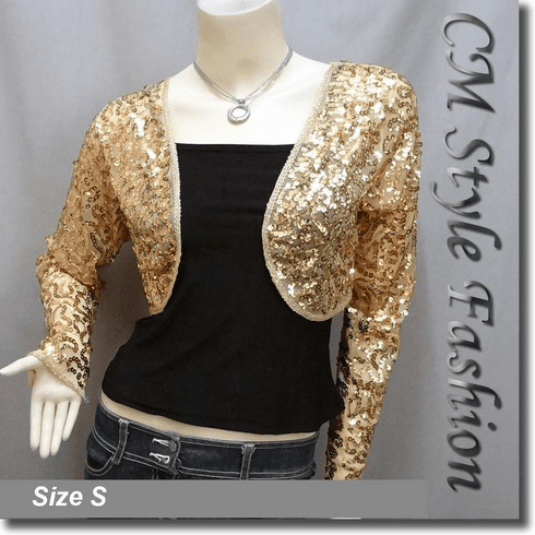 Sequined Embroidered Cropped Shrug Bolero Golden