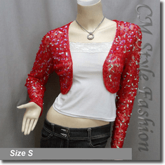 Sequined Embroidered Cropped Shrug Bolero Red