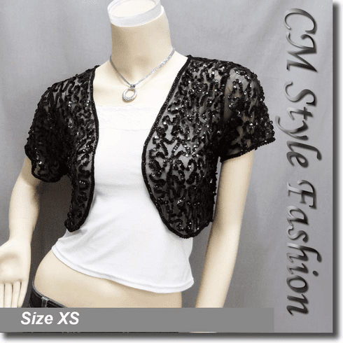 Sequined Embroidered Short Bolero Top Black