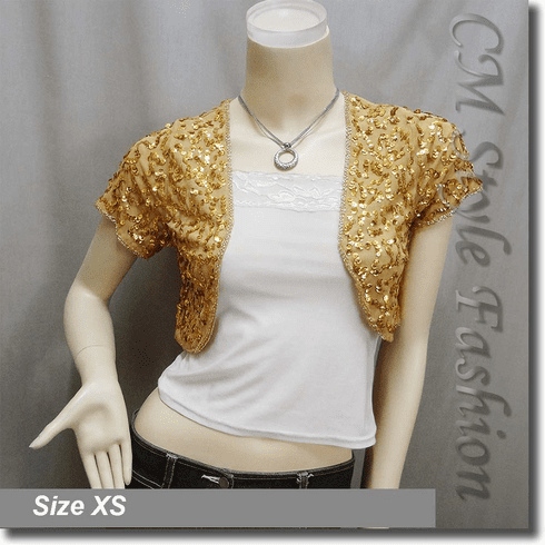 Sequined Embroidered Short Bolero Top Golden