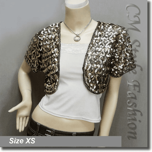 Sequined Embroidered Short Bolero Top Golden Black