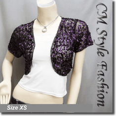 Sequined Embroidered Short Bolero Top Purple