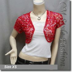 Sequined Embroidered Short Bolero Top Red
