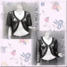 Sequined Embroidery Shrug Bolero