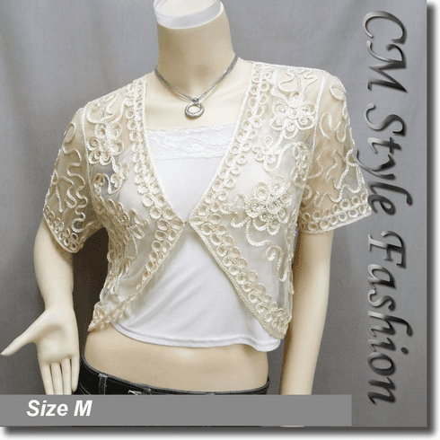 Sequined Embroidery Shrug Bolero Beige