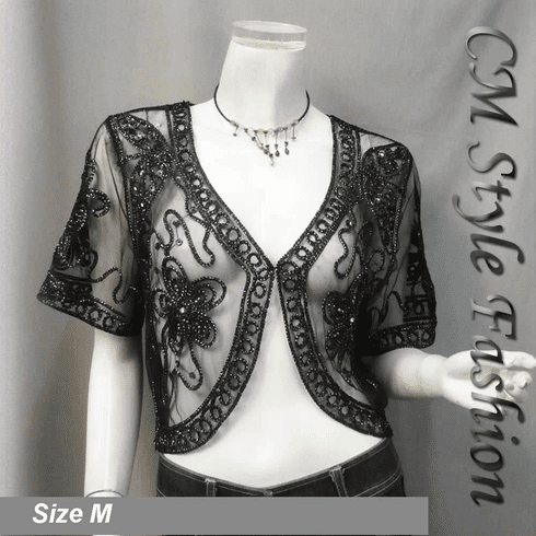 Sequined Embroidery Shrug Bolero Black