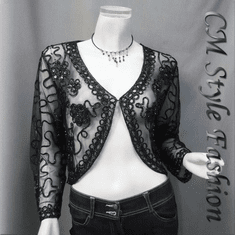 Sequined Embroidery Shrug Bolero (Long Sleeves) Black