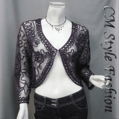 Sequined Embroidery Shrug Bolero (Long Sleeves) Purple