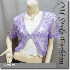 Sequined Embroidery Shrug Bolero Purple