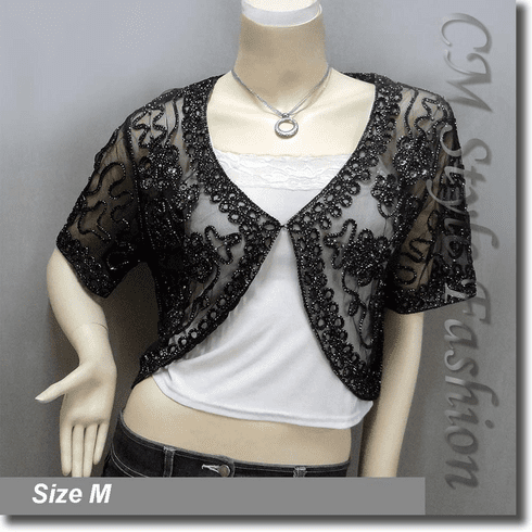 Sequined Embroidery Shrug Bolero (Short Sleeves) Black