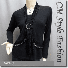 Sequined Lacey O Ring Scarf Neckline Boho Blouse Top Black