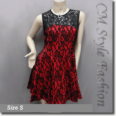 Sexy Dual Tone Lace Overlay Cocktail Dress Black Red