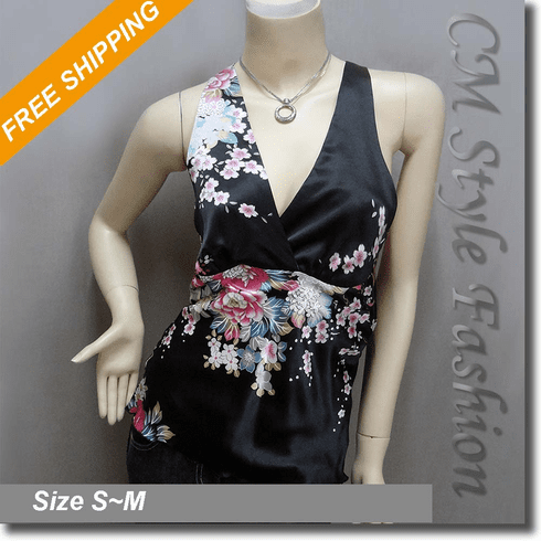 Sexy Floral Halter Back Tie Silky Satin Bare Back Top Black