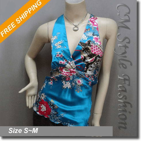 Sexy Floral Halter Back Tie Silky Satin Bare Back Top Blue