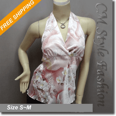 Sexy Floral Halter Back Tie Silky Satin Bare Back Top Pink