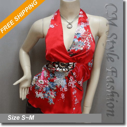 Sexy Floral Halter Back Tie Silky Satin Bare Back Top Red