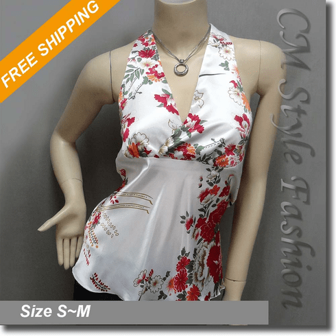 Sexy Floral Halter Back Tie Silky Satin Bare Back Top White