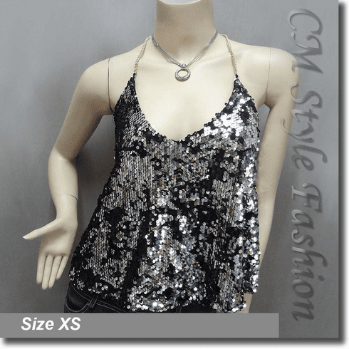 Sexy Glamorous Sequined Bling Bling Camisole Blouse Top Silvery Black