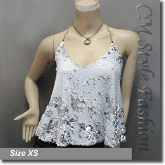 Sexy Glamorous Sequined Bling Bling Camisole Blouse Top White Silvery