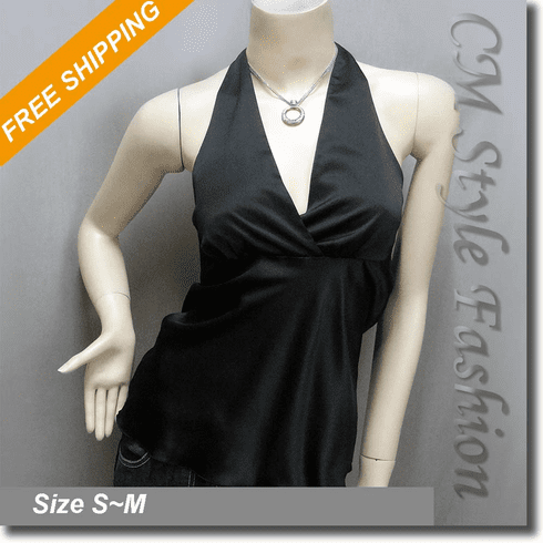 Sexy Halter Back Tie Silky Satin Bare Back Top Black