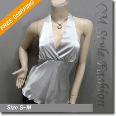 Sexy Halter Back Tie Silky Satin Bare Back Top Gray