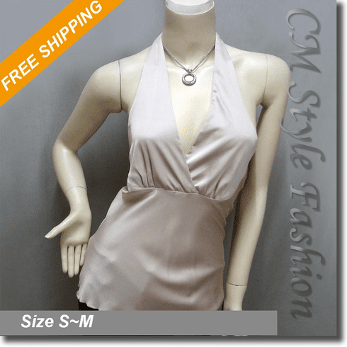 Sexy Halter Back Tie Silky Satin Bare Back Top Light Brown