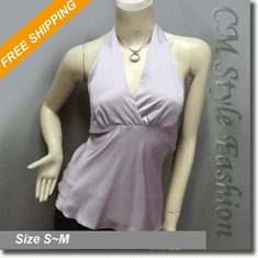 Sexy Halter Back Tie Silky Satin Bare Back Top Light Purple / Lavender