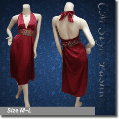 Sexy Halter Deep V Satin Dress Burgundy w/ Belt