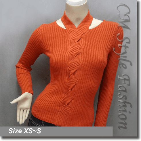 Sexy Halter Neck Long Sleeves Twisted Patterns Blouse Top Orange