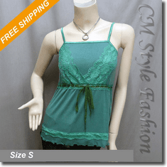 Sexy Lace Empire Line Fashion Tank Tee Top Green