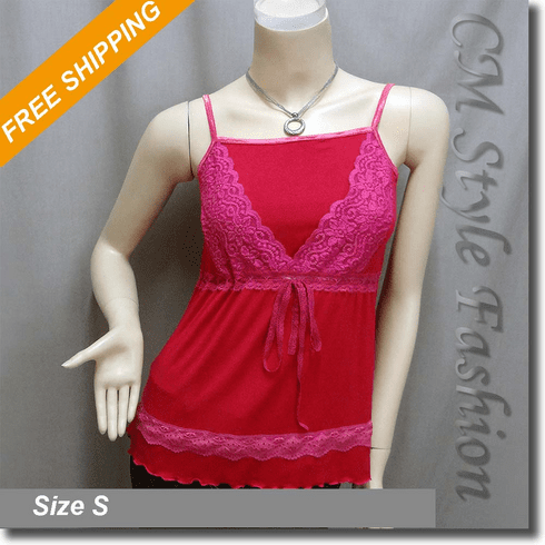 Sexy Lace Empire Line Fashion Tank Tee Top Hot Pink