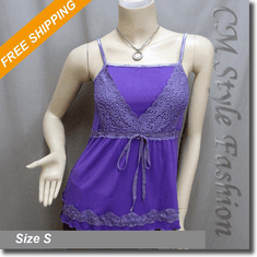Sexy Lace Empire Line Fashion Tank Tee Top Purple