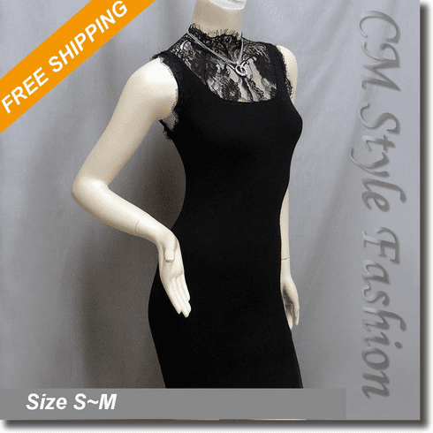Sexy Lace Turtleneck Stretchy Dress Black
