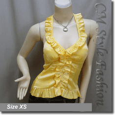 Sexy Low Cut Bebe Ruffle Rosette Stripe Halter Padded Blouse Top Yellow