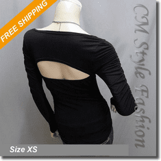 Sexy Ruched Wide Neck Back Open Blouse Top Black