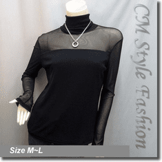 Sexy Sheer Sleeves Turtleneck Blouse Top Black