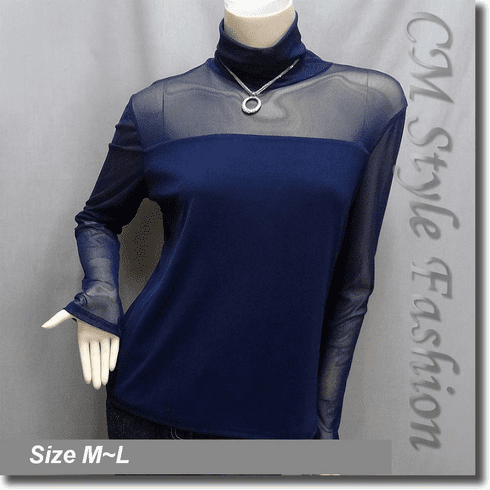 Sexy Sheer Sleeves Turtleneck Blouse Top Blue