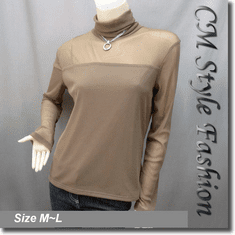 Sexy Sheer Sleeves Turtleneck Blouse Top Brown