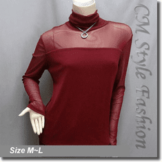 Sexy Sheer Sleeves Turtleneck Blouse Top Burgundy