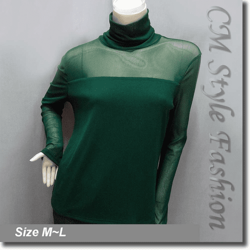 Sexy Sheer Sleeves Turtleneck Blouse Top Green