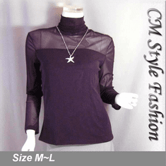 Sexy Sheer Sleeves Turtleneck Blouse Top Purple