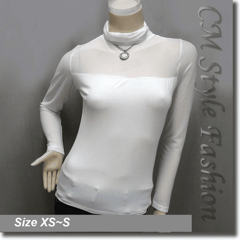 Sexy Sheer Sleeves Turtleneck Blouse Top White
